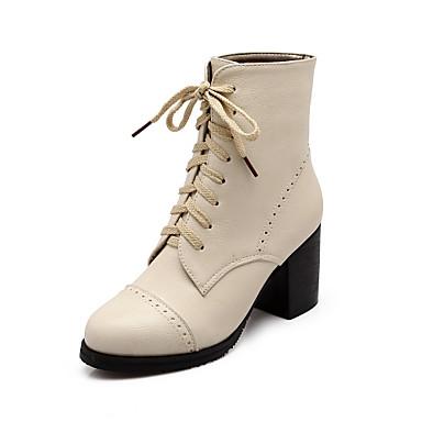 부츠 - 사무실 & 커리어 / 드레스 / 캐쥬얼 / 파티/이브닝 - 여성의 신발 - 둥근 앞코 - 레더렛 - 청키 굽 - 블랙 / 브라운 / 베이지
