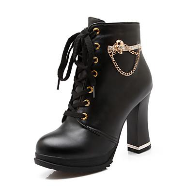 Черный Белый-Женский-Для праздника Повседневный-Дерматин-На толстом каблуке-Модная обувь