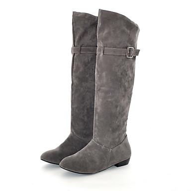 부츠 - 캐쥬얼 - 여성의 신발 - 슬라우치 / 둥근 앞코 - 레더렛 - 낮은 굽 - 블랙 / 브라운 / 옐로 / 레드 / 그레이