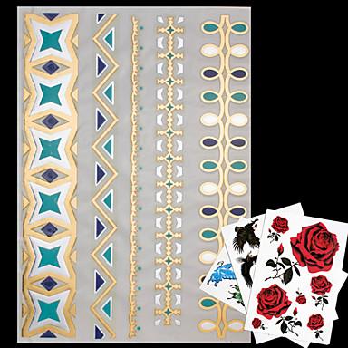 NO - 타투 스티커 - 패턴 / Waterproof - 쥬얼리 시리즈 - 여성 / 남성 / 어른 / Teen - 골드 / 블루 / 멀티 컬러 / 실버 - 종이 - 4 - 23*15*0.1cm - Necklace / Jewelry