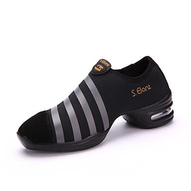 Kadın Dans Sneakerları Sentetik Spor Ayakkabı Profesyonel İç Mekan Performans Egzersiz Küba Topuk Siyah Kırmızı 2,5 - 3,6 cm