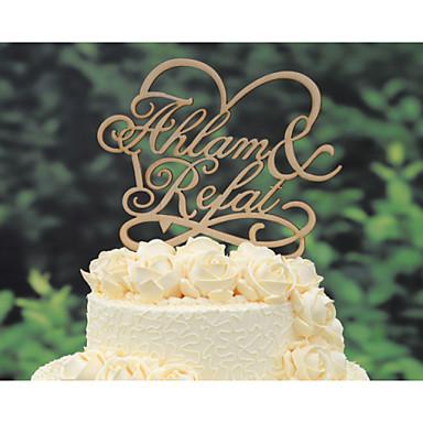 Figurki na tort Spersonalizowane Klasyczna para / Kiery Papier na kartkę Ślub / Rocznica / Prysznic dla nowożeńców ŻółtyKwiatowy Motyw /