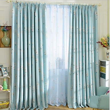 Stanglomme Propp Topp Fane Top Dobbelt Plissert To paneler Window Treatment Moderne, Trykk Stue Polyester Materiale Blackout Gardiner