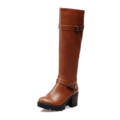 여성 구두 레더렛 가을 겨울 청키 굽 무릎 높이 부츠 버클 지퍼 제품 캐쥬얼 드레스 블랙 옐로우 버건디