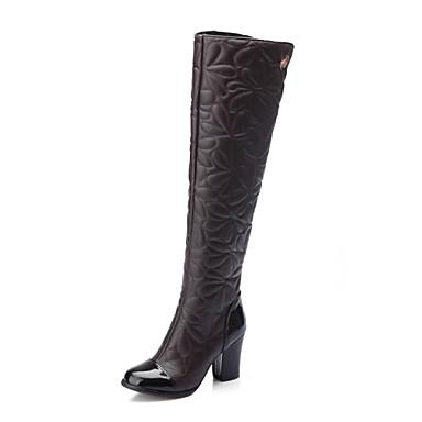 Støvler-Kunstlæder-Modestøvler-Dame-Sort Brun Hvid-Udendørs Kontor Fritid-Tyk hæl