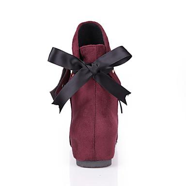 Automne Chaussures semelle Hiver synthétique Botte Femme Pour 04296361 Laine Demi compensée Hauteur Fermeture de Printemps Bottine Noeud nTWIWqp8d