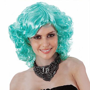 Syntetiske parykker Krøllet Asymmetrisk frisyre Syntetisk hår Naturlig hårlinje Grønn Parykk Dame Kort Halloween parykk / Karneval Parykk
