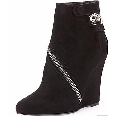 부츠 - 사무실 & 커리어 / 드레스 / 파티/이브닝 - 여성의 신발 - 부티 - 플리스 - 웻지 굽 - 블랙