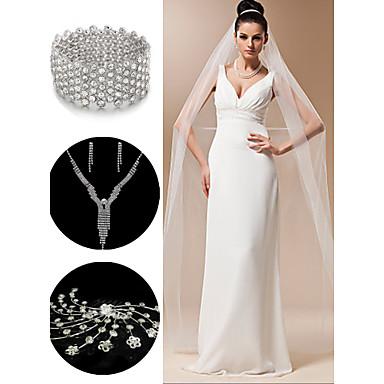 свадебные аксессуары, установленные (вуаль& головной убор& ожерелье& серьги& браслет)