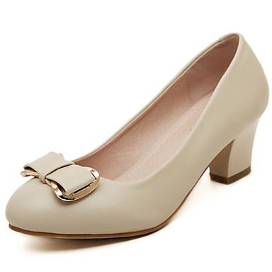 Черный / Бежевый - Женская обувь - Для праздника - Кожа - На толстом каблуке - На каблуках / С круглым носком / С закрытым носком -Обувь