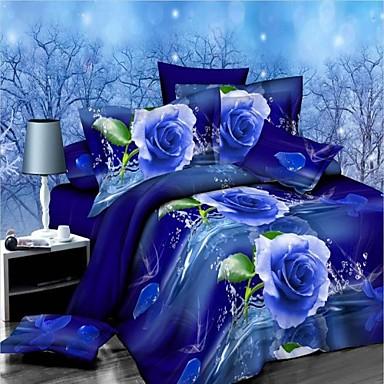 Bettbezug-Sets Blumen 4 Stück Polyester / Baumwolle Reaktivdruck Polyester / Baumwolle 4-teilig (1 Bettbezug, 1 Bettlaken, 2 Kissenbezüge)
