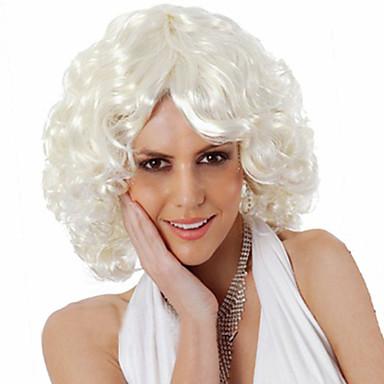 Synthetische Perücken Damen Locken Weiß Asymmetrischer Haarschnitt Synthetische Haare Natürlicher Haaransatz / Mittelscheitel Weiß Perücke Kurz Kappenlos Weiß