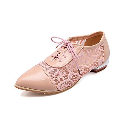 Femme Chaussures Synthétique Printemps Eté Automne Talon Bas Lacet Pour Décontracté Blanc Noir Rose