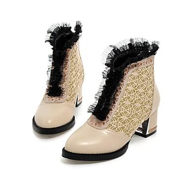 Mujer Zapatos PU Otoño / Invierno Confort / Botas de Moda Botas Senderismo / Paseo Tacón Cuadrado Dedo Puntiagudo Encaje Cosido / Volantes Blanco / Negro / Rojo
