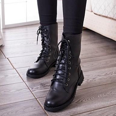 Kadın's Ayakkabı Yapay Deri Kış Sonbahar Combat Botları Düşük Topuk 6