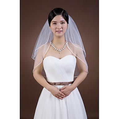 Два слоя Закруглённый край Свадебные вуали Фата до локтя С Стразы Ленты Тюль
