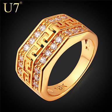 Γυναικεία Δακτύλιος Δήλωσης Cubic Zirconia Χρυσό Ασημί Ζιρκονίτης Cubic Zirconia Επιμεταλλωμένο με Πλατίνα Επιχρυσωμένο Κράμα Βίντατζ