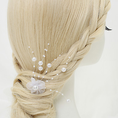 Gemstone & Crystal Tulle Alloy Headpiece Hair Pin with Crystal Feather 1 Wedding Special Occasion Birthday Event / Party Party / Evening