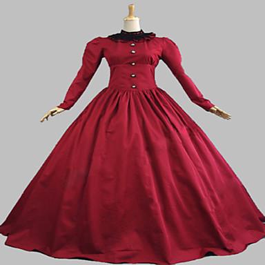 중세시대 빅토리안 코스츔 여성용 드레스 파티 코스튬 가면 빈티지 코스프레 레이스 면 테릴렌 긴 소매 긴 길이