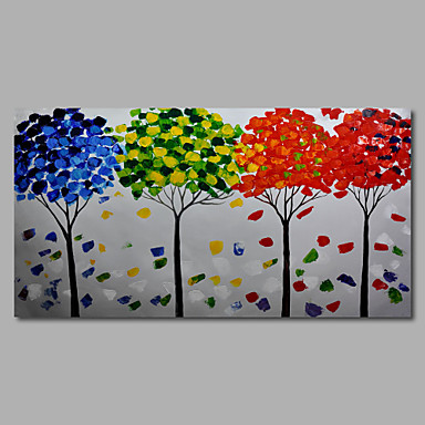 Hand-Painted Abstract Modern Oil Painting Canvas Deco Art Landscape Trees one Panels