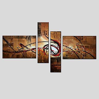 Pintados à mão AbstratoModerno / Estilo Europeu 4 Painéis Tela Pintura a Óleo For Decoração para casa