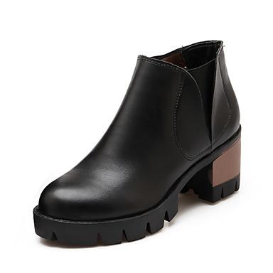 Støvler-KunstlæderDame-Sort Gul Beige-Udendørs Kontor Fritid-Tyk hæl