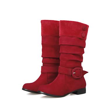 Støvler-Kunstlæder-Modestøvler-Dame-Sort Brun Grøn Rød-Udendørs Kontor Fritid-Lav hæl
