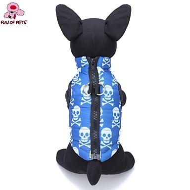 Kedi Köpek Paltolar Vesta Köpek Giyimi Kuru Kafalar Mavi Pamuk Kostüm Evcil hayvanlar için Erkek Kadın's Günlük/Sade