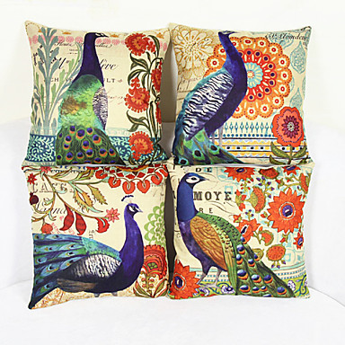 Pillow Covers 4 Pcs Linen Case Animal Nature Graphic Prints Modern Contemporary