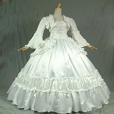 Μονοκόμματο/Φορέματα Γοτθική Λολίτα Steampunk® Cosplay Φορέματα Λολίτα Λευκό Μονόχρωμο Μακρύ Μανίκι Μακρύ Μήκος Φόρεμα Για Γυναικεία