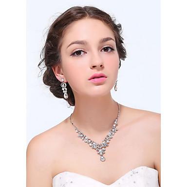 Femme Zircon Strass Mariage Soirée Occasion spéciale Fiançailles Quotidien Alliage Boucles d'oreille Colliers décoratifs