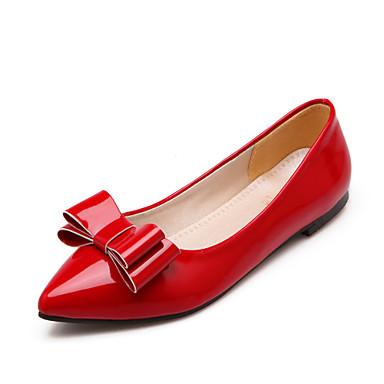 Для женщин Обувь Лакированная кожа Весна Лето Осень На плоской подошве Бант Назначение Повседневные Черный Бежевый Красный