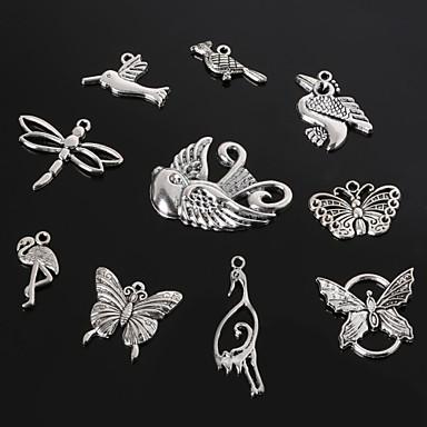 beadia prata antiga pingentes de metal encanto libélula borboleta pássaro&guindaste pingente jóias diy