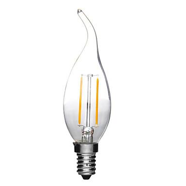 1pc 2W 180lm E14 LED-glødepærer C35L 2 LED perler COB Dekorativ Varm hvit Kjølig hvit 220-240V