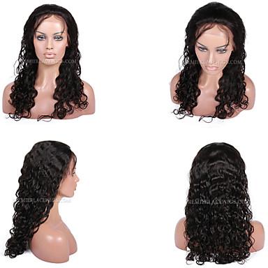 Ekte hår Helblonde / Blonde Forside Parykk Krøllet 130% tetthet Naturlig hårlinje / Afroamerikansk parykk / 100 % håndknyttet Kort / Medium / Lang Dame Blondeparykker med menneskehår