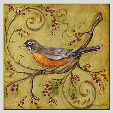 Oil Paintings Modern Flower And Bird Style Canvas Material With Wooden Stretcher Ready To Hang SIZE:70*70CM.