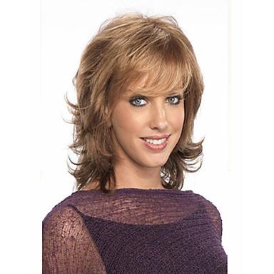 Synteettiset peruukit Kihara Otsatukalla Bangsin kanssa Tiheys Suojuksettomat Naisten Ruskea Keskikokoinen Synteettiset hiukset