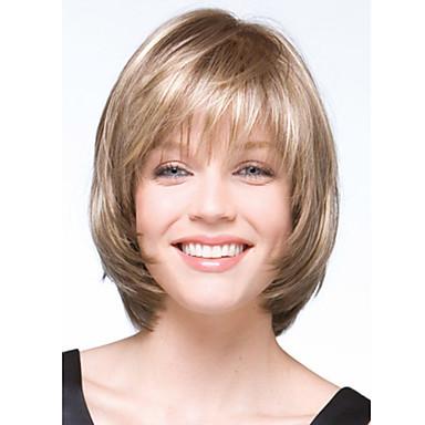 Syntetiske parykker Dame Bølget Blond Syntetisk hår Blond Parykk Kort Lokkløs Blond