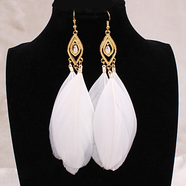 Women's Drop Earrings European Costume Jewelry Jewelry Alloy Feather Jewelry For