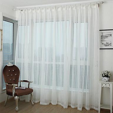 Läpinäkyvät verhot Shades Living Room Raita Polyesteri Painetut / Jakardi