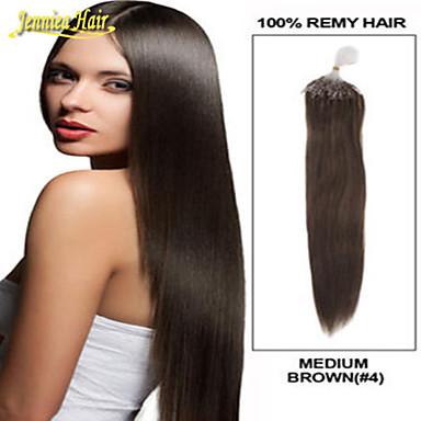 お買い得  人毛エクステンション-マイクロリングヘアエクステンション 人間の髪の拡張機能 ストレート 人毛 ブラジリアンヘア ブリーチブロンド