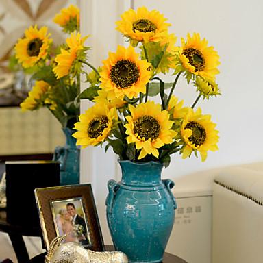 1 haara Polyesteri Auringonkukat Pöytäkukka Keinotekoinen Flowers 87 x 16 x 16 (34.25'' x 6.29'' x 6.29'')