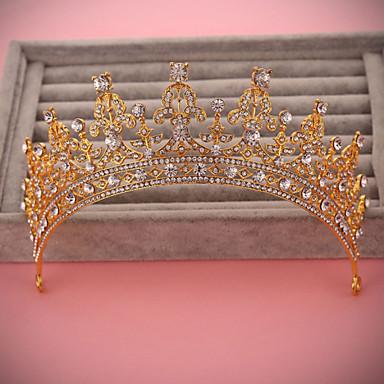 Bride's Golden Rhinestone Forehead Wedding Crown Headwear  1 PC