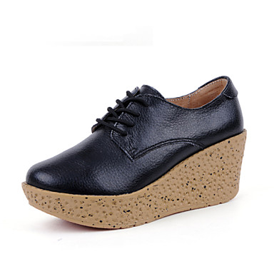 Women's Shoes Leather Wedge Heel Comfort / Oxfords Party & Evening / Dress / CasualBlack / Green / White / Beige /