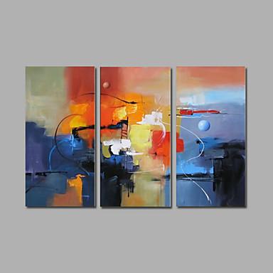 Håndmalte Abstrakt Horisontal,Moderne Tre Paneler Hang malte oljemaleri For Hjem Dekor