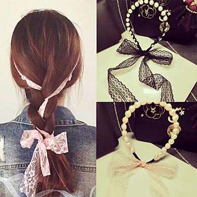 Sør-Koreas aristokratiske vind perle blonder bowknot bånd bind hår band