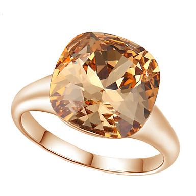 בגדי ריקוד נשים קריסטל יהלום מדומה סגסוגת טבעת הצהרה - ריבוע Geometric Shape פאר אופנתי עבור חתונה Party