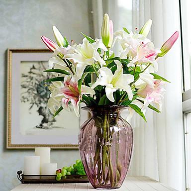 2 Branch Silk Plastic Lilies Tabletop Flower Artificial Flowers