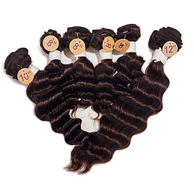 baratos Extensões de Cabelo Colorido-Cabelo Brasileiro Onda Profunda 8A Cabelo Humano Ondulado Tramas de cabelo humano Extensões de cabelo humano