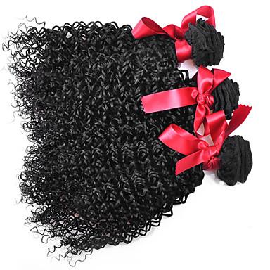 Düz Brezilya Saçı Kıvırcık Örgü Afro Bukle İnsan saç örgüleri 3 Parça 0.3